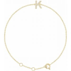 yellow gold initial diamond dainty bracelet
