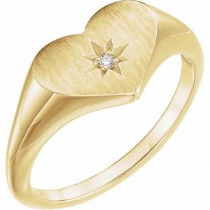 yellow gold heart signet ring with star stamp and diamond