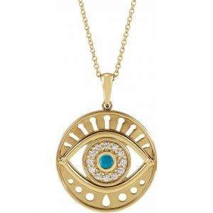 yellow gold evil eye pendant necklace with turquoise