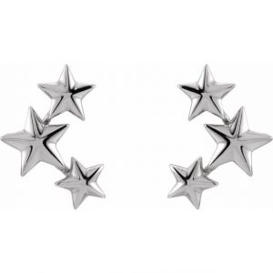 White Gold Starry Night Ear Climber