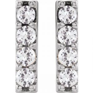 front view of white gold accented bar earrings