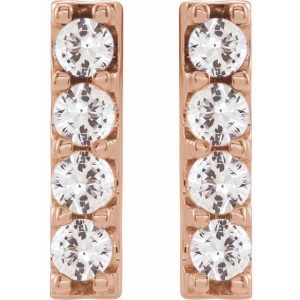 front view of rose gold accented bar earrings