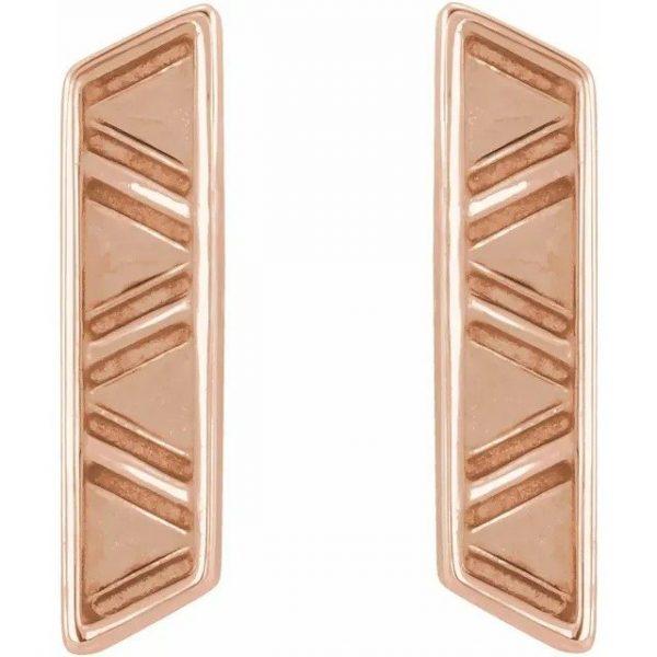 geometric earrings rose gold