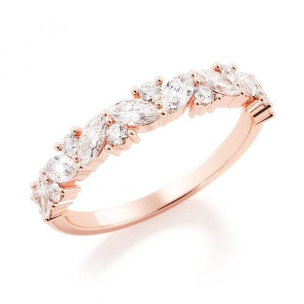 rose gold fluer diamond band