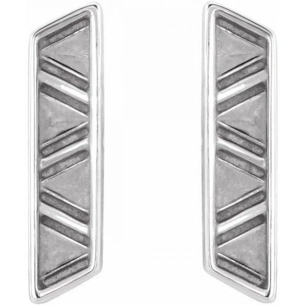 geometric earrings white gold