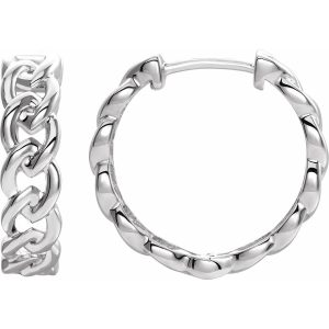 chain link hoop earrings white gold