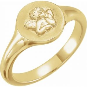 cherub angel pink ring gold