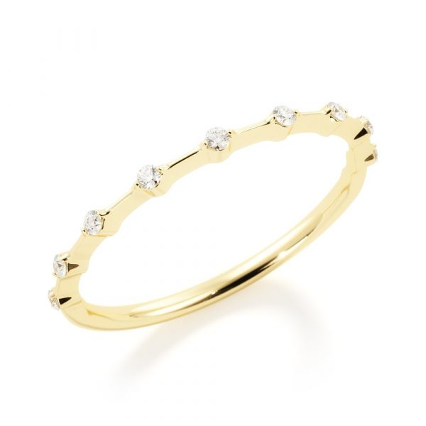 yellow gold starry night spaced out diamonds band