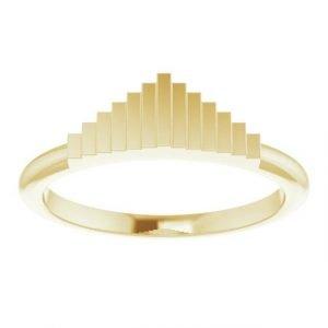 yellow gold geometric stacking fashion ring