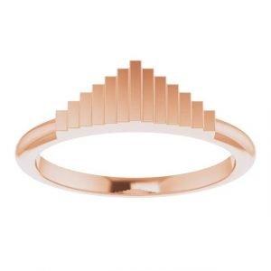 rose gold geometric stacking fashion ring