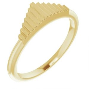 yellow gold geometric stacking fashion ring