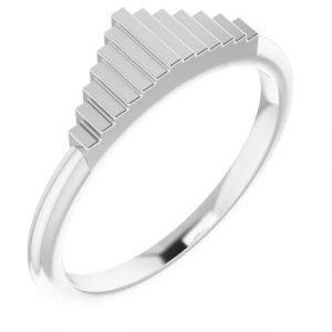 white gold geometric stacking fashion ring