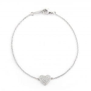 itty bitty heart dainty white gold bracelet pendant