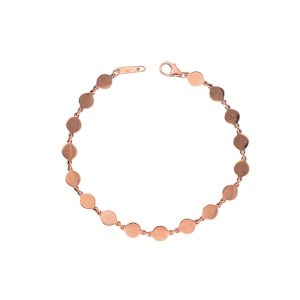 diamond disc pendant bracelet in rose gold