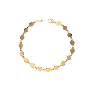 diamond disc pendant bracelet in yellow gold