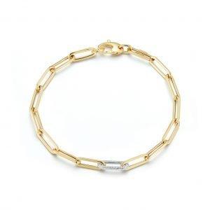 white gold paperclip bracelet with diamond clip