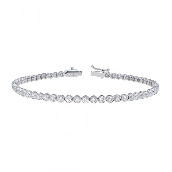 white gold diamond tennis bracelet front view