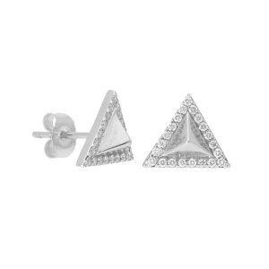 Pave Pyramid Stud Earrings