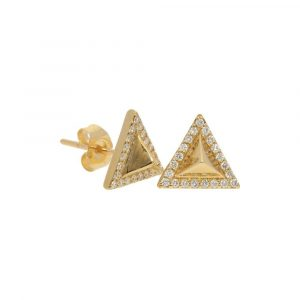 Pave Pyramid Stud Earrings