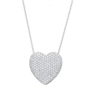 adorned with diamonds white gold diamond heart pendant necklace