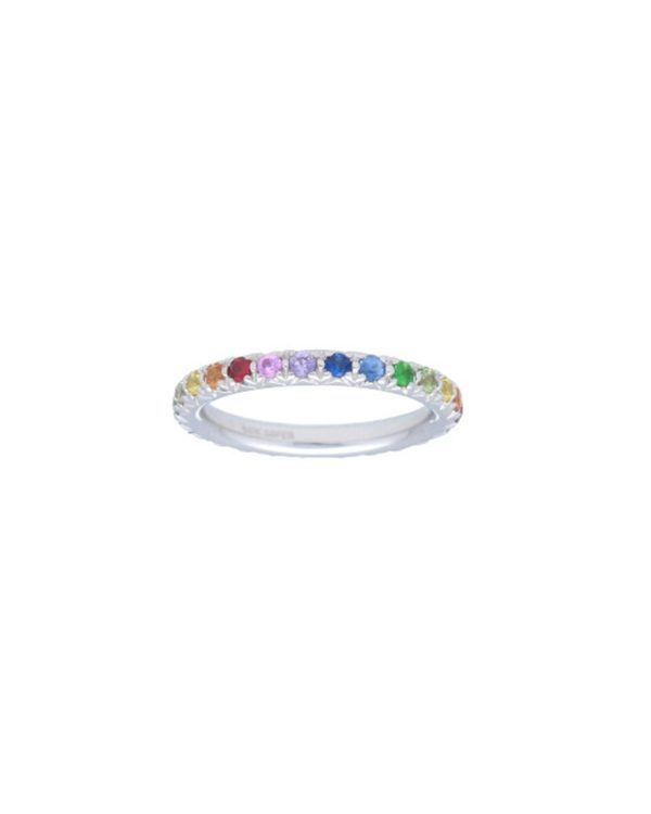 Rainbow Eternity Band in white gold