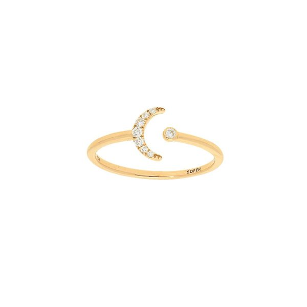 Sun & Moon Diamond Ring in yellow gold