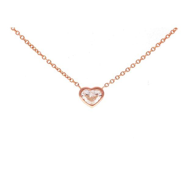 Bezel Set Heart Diamond Necklace