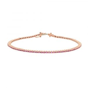 pink sapphire classic tennis bracelet in rose gold