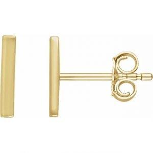 yellow gold mini bar earrings side view
