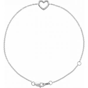 white gold dainty heart bracelet