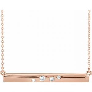rose gold scattered diamonds bar necklace