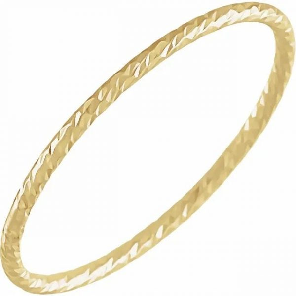 yellow gold textured stacking ring
