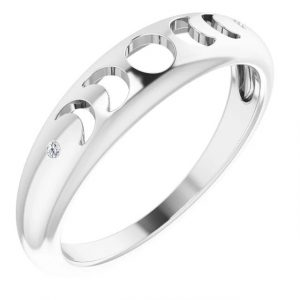 white gold phases of the moon ring