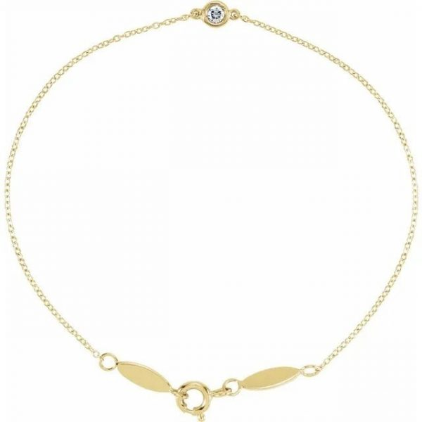 yellow gold single diamond bezel set bracelet