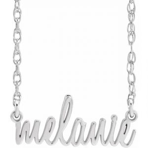 white gold script name necklace