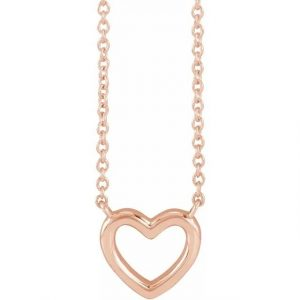 rose gold dainty open heart chain necklace