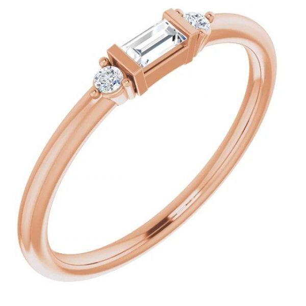 rose gold diamond baguette stacking ring