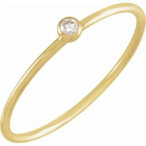 yellow gold diamond stacking ring with diamond