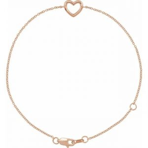 rose gold dainty heart bracelet