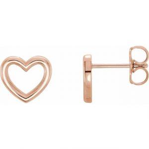 rose gold dainty heart stud earrings