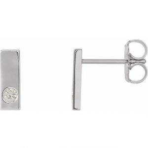 white gold diamond bar earrings