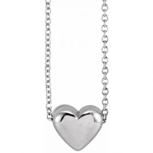 white gold puffy heart pendant necklace