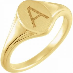 yellow gold engraved pendant signet ring