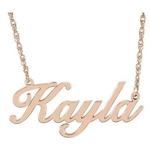 rose gold script name necklace