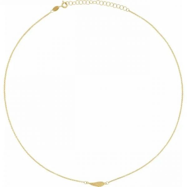 yellow gold delicate and dainty angel wing necklace