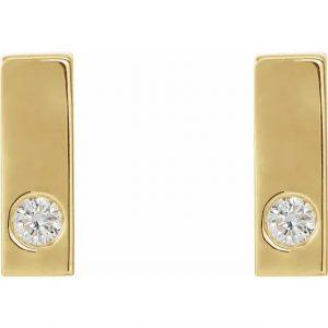 Flat Bar Diamond Earrings