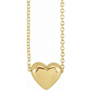 yellow gold puffy heart pendant necklace
