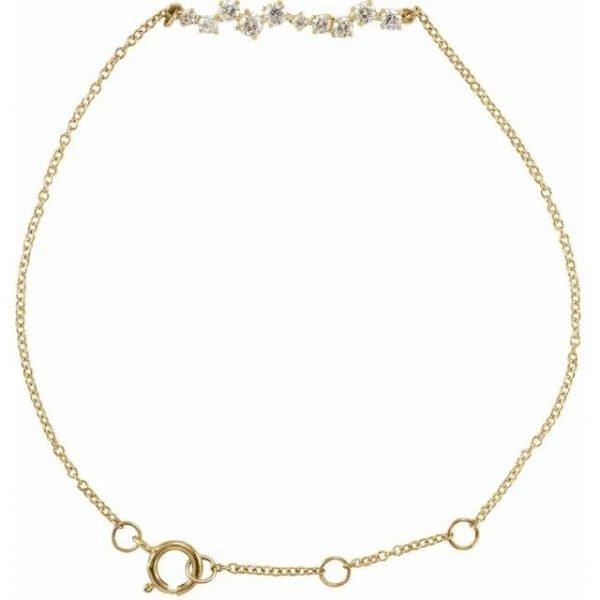 yellow gold accented diamonds bar bracelet