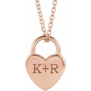 rose gold engraved heart locket necklace