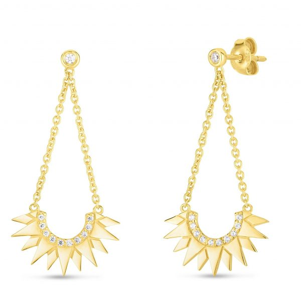 Sunburst Diamond Drop Earrings